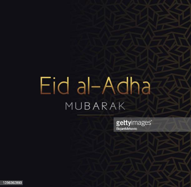 eid al-adha mubarak card. vector - eid al adha stock illustrations