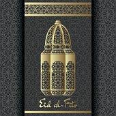 Eid al-Fitr Background. Islamic Arabic lantern. Greeting card. Vector illustration.