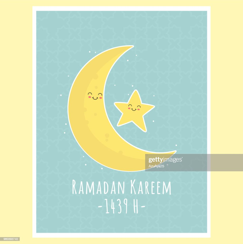 Eid Al-Fitr Moon and Star, Ramadan Kareem Greeting Card Vector Design
