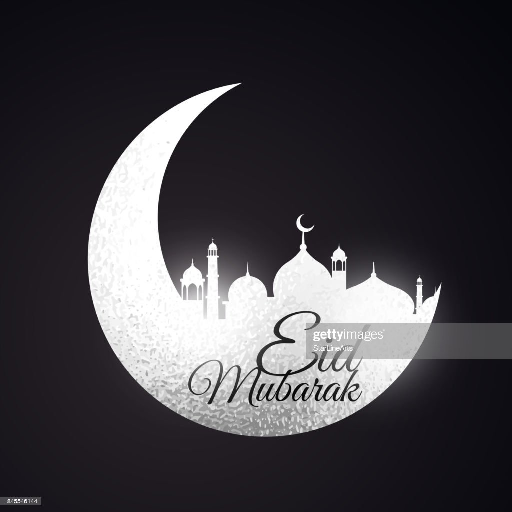 eid festival background with moon and mosque