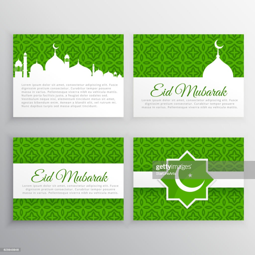 eid festival greeting cards set