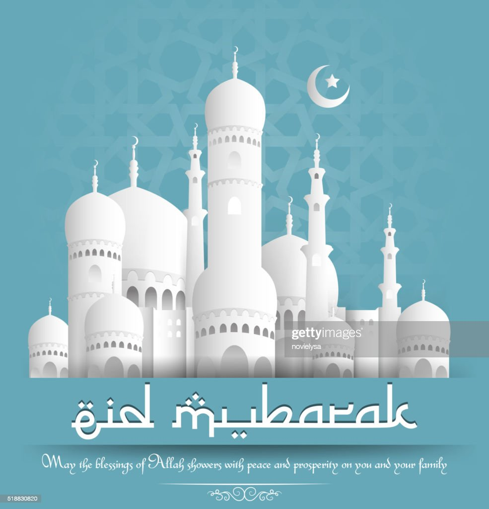 Eid mubarak background with mosque and crescent moon