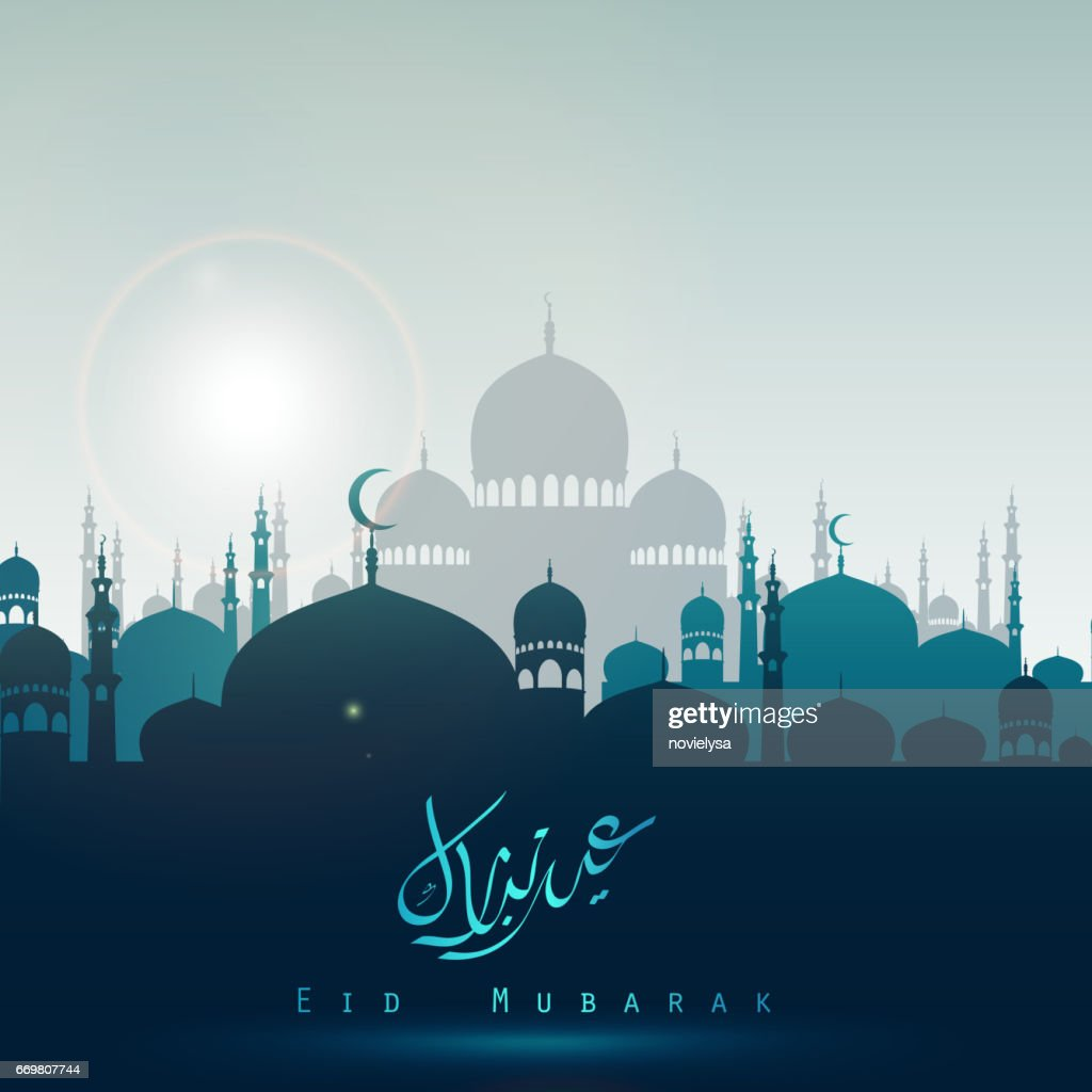 Eid Mubarak background with silhouette mosque in the bright night