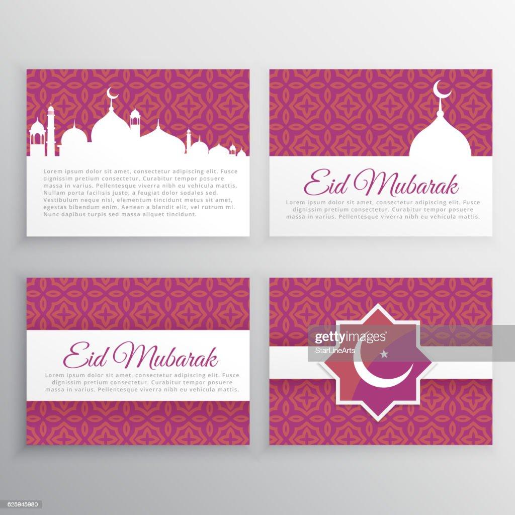 eid mubarak cards set
