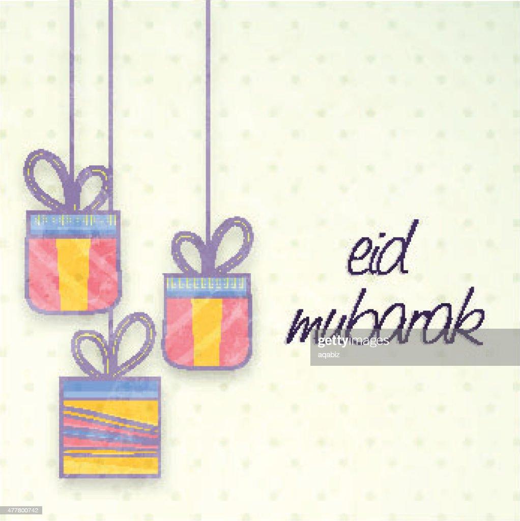 Eid Mubarak Celebration Greeting Card Vector Art Getty Images