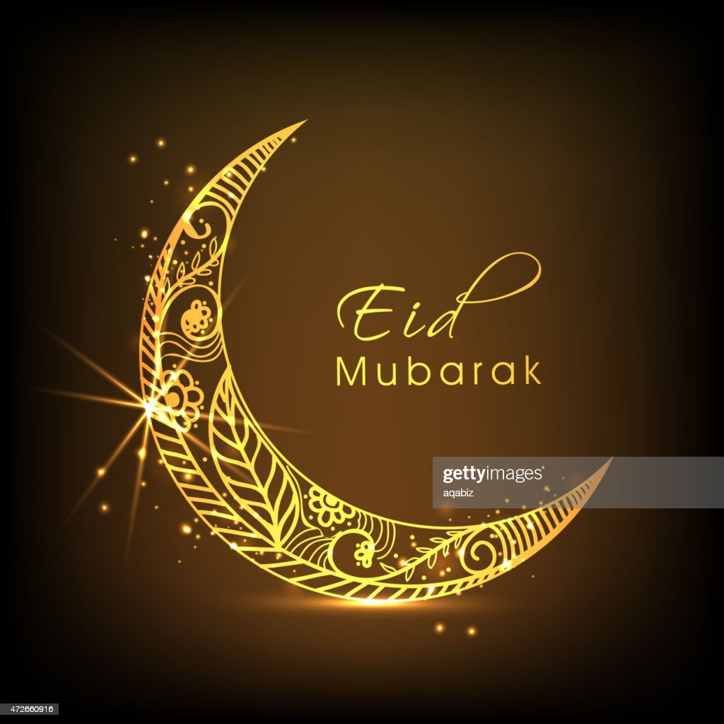 Eid Mubarak celebration with golden moon.