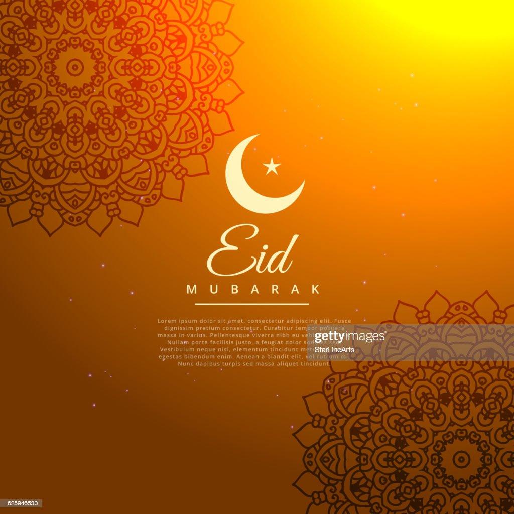 eid mubarak golden background with crescent moon