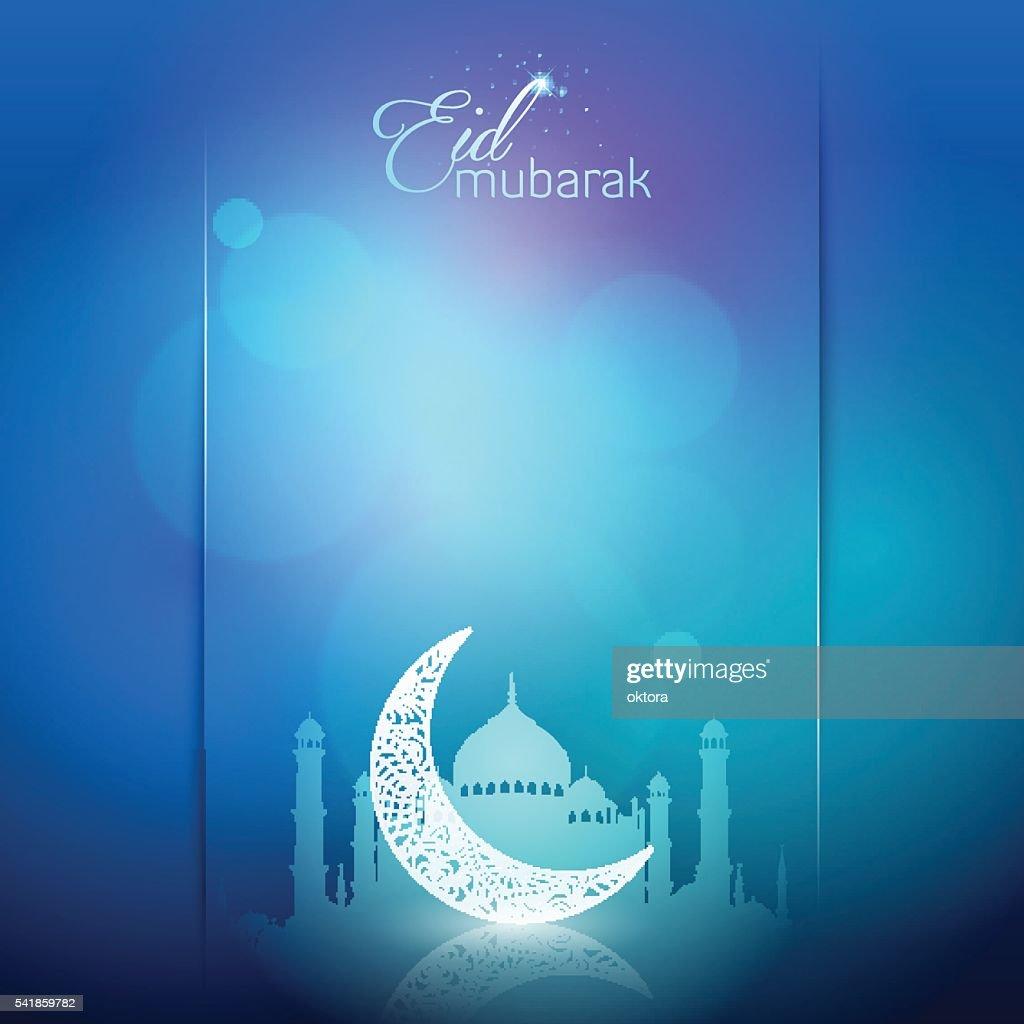 Eid Mubarak greeting card background arabic calligraphy
