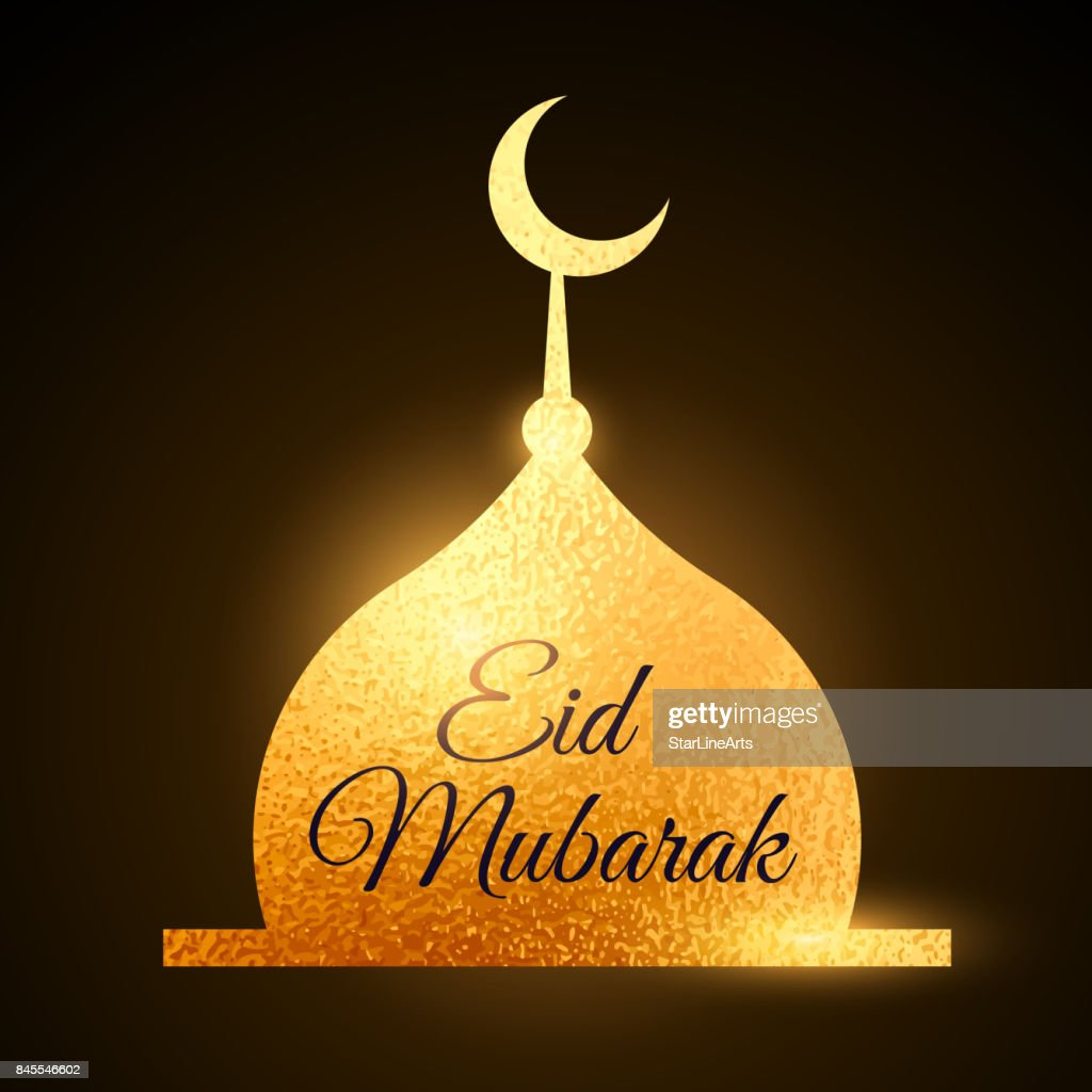 eid mubarak muslims festival with golden mosque