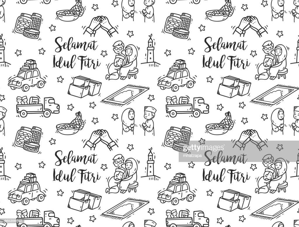Eid mubarak or idul fitri festival doodle background