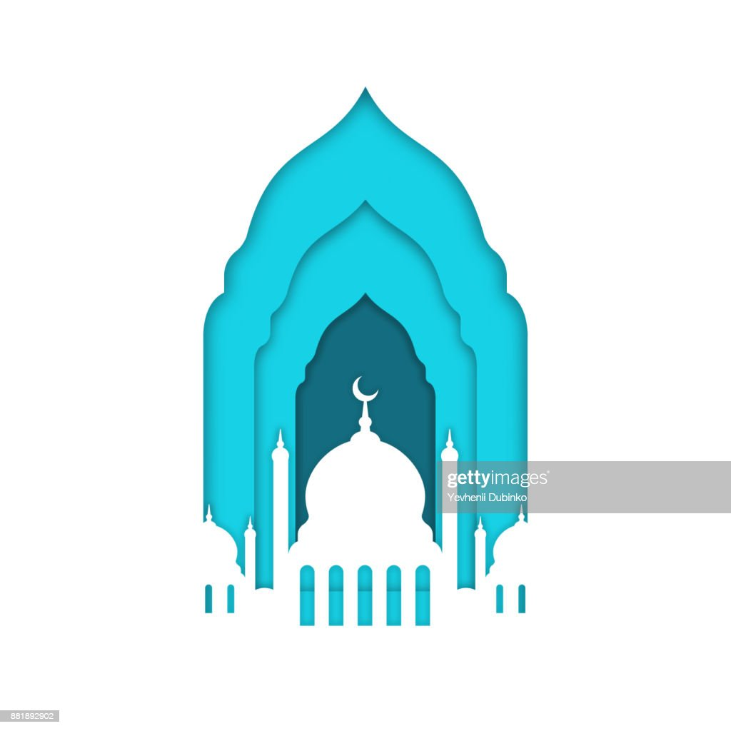 Eid Mubarak, Ramadan Kareem. Islamic greeting card, banner template. Mosque with moon isolated on white background