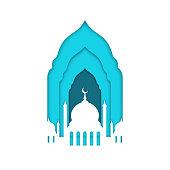 Eid Mubarak, Ramadan Kareem. Islamic greeting card, banner template. Mosque with moon isolated on white background