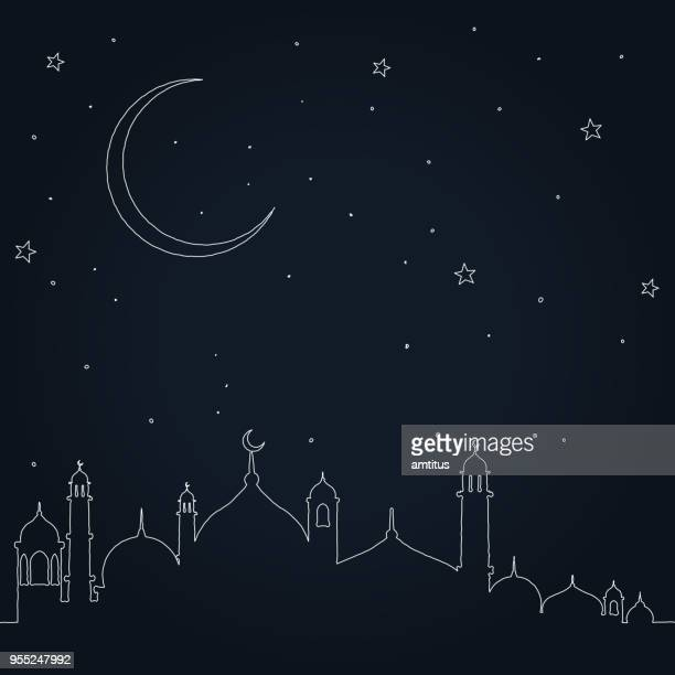 eid mubarak - mosque stock illustrations