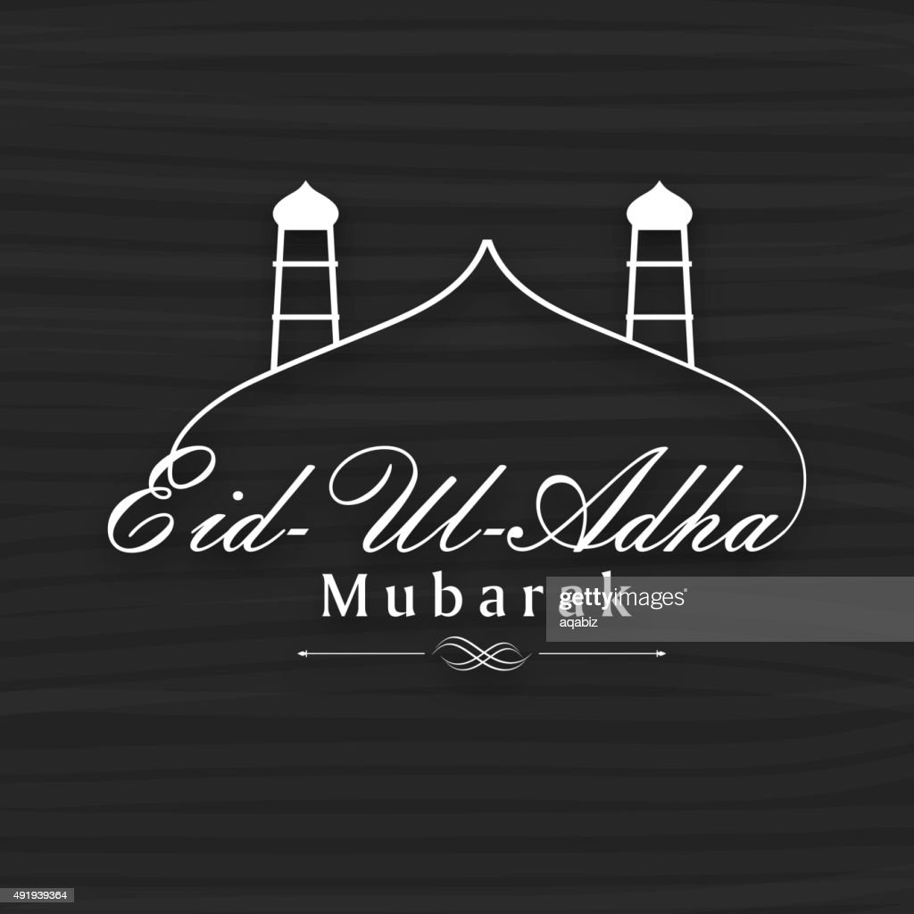 Eid-Al-Adha celebration with stylish text with mosque.