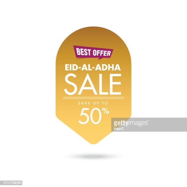 eid-al-adha sale tag stock illustration - eid al adha stock illustrations