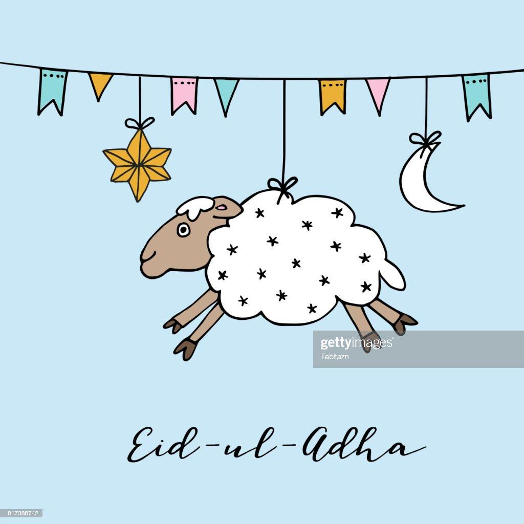 Eiduladha Greeting Card With Hand Drawn Sheep Moon Star And Flags