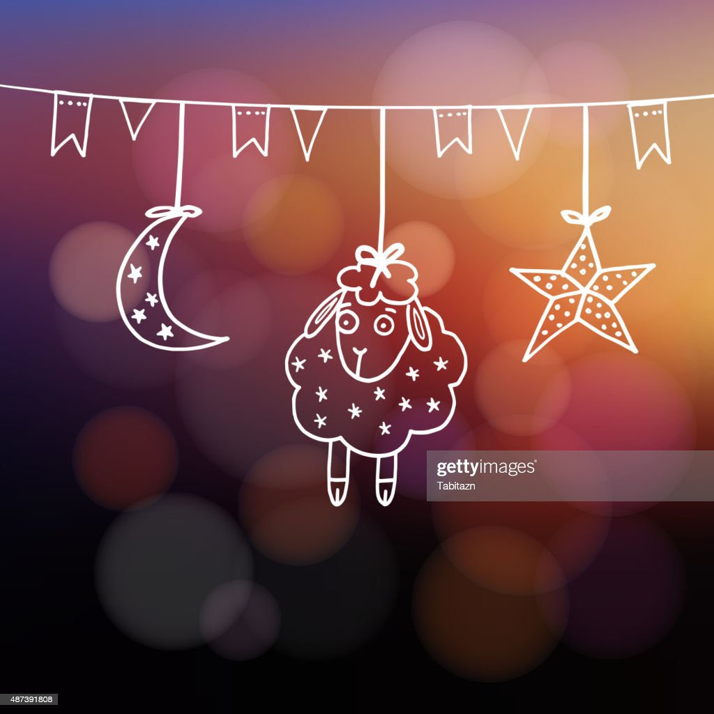 Eiduladha Greeting Card With Sheep Moon Star And Flags Vector Art