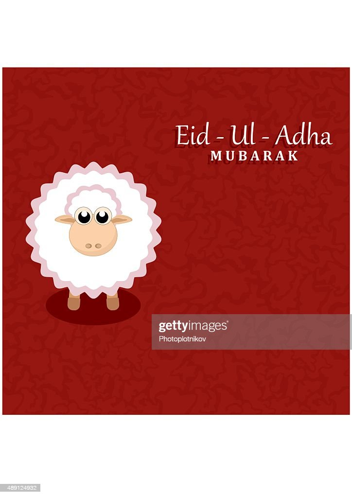 Eid-Ul-Adha greeting card with sheep.