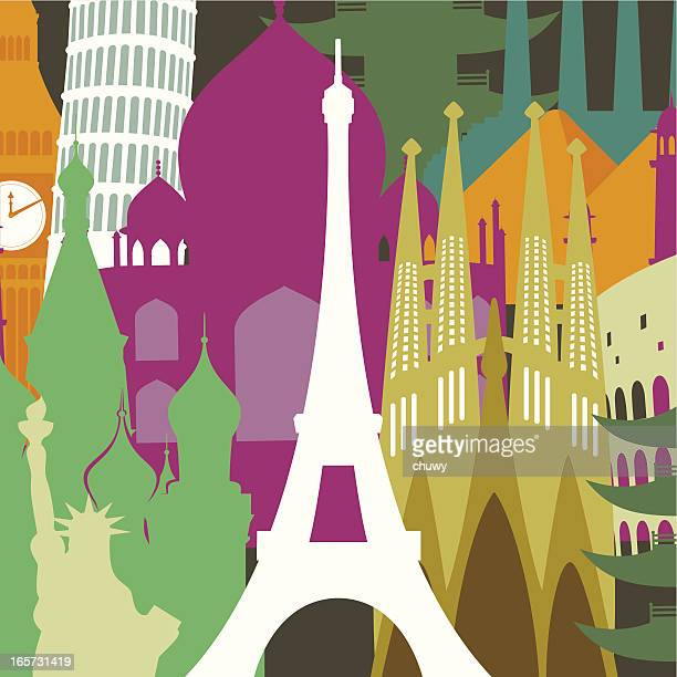 eiffel tower against monuments background - barcelona stock illustrations, clip art, cartoons, & icons