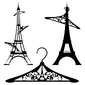 eiffel tower and clothes hangers vector set