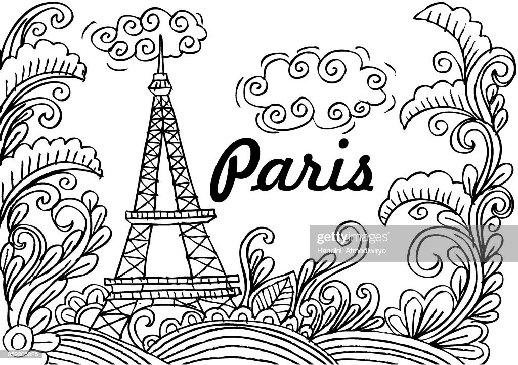 Eiffel tower and floral frame.