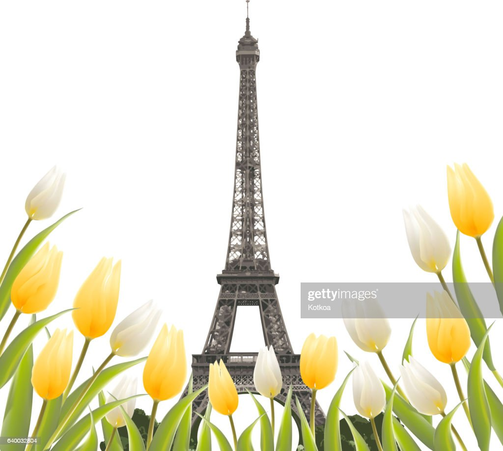 Eiffel tower and Tulip bouquet.