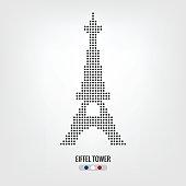 Eiffel tower dot icon,vector