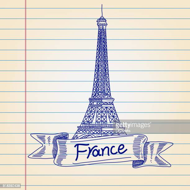 eiffel tower, france, london drawing on lined paper - artistic product stock illustrations