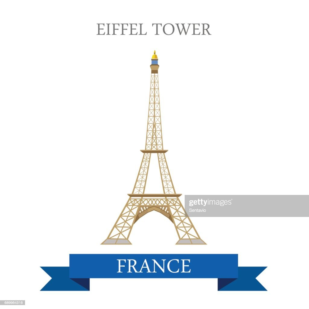 Eiffel Tower In Paris France Flat Cartoon Style Historic Sight Showplace Attraction Web Site Vector Illustration World Countries Cities Vacation Travel Sightseeing Europe European French Collection High Res Vector Graphic Getty Images