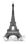 Eiffel tower isolated, very detailed