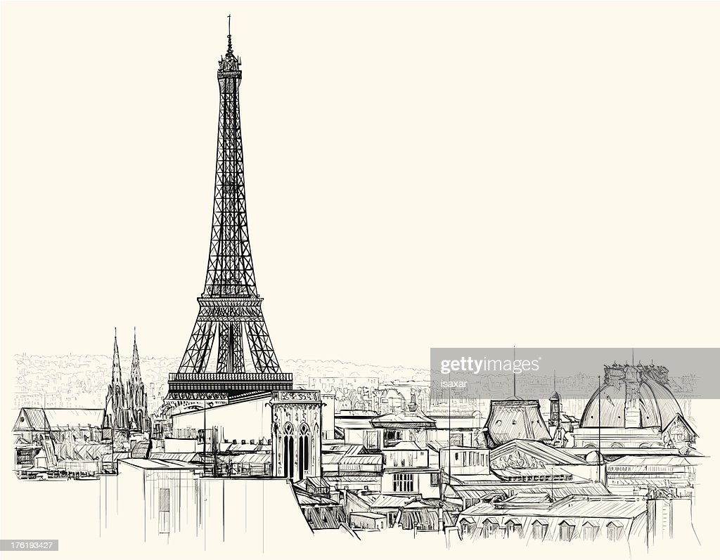 Eiffel tower over roofs of Paris