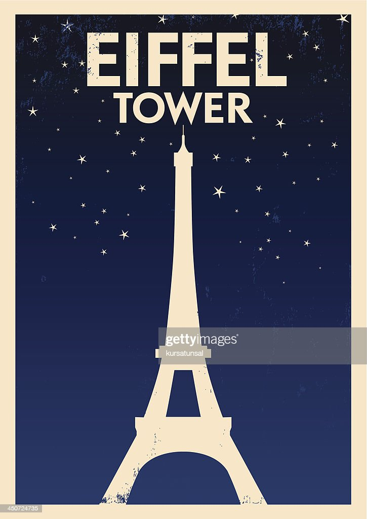 Eiffel Tower poster in beige on blue with tower and stars
