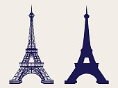 Eiffel tower silhouette and sketched icons