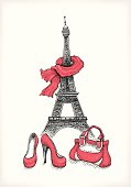 Eiffel Tower with red scarf, shoes and purse