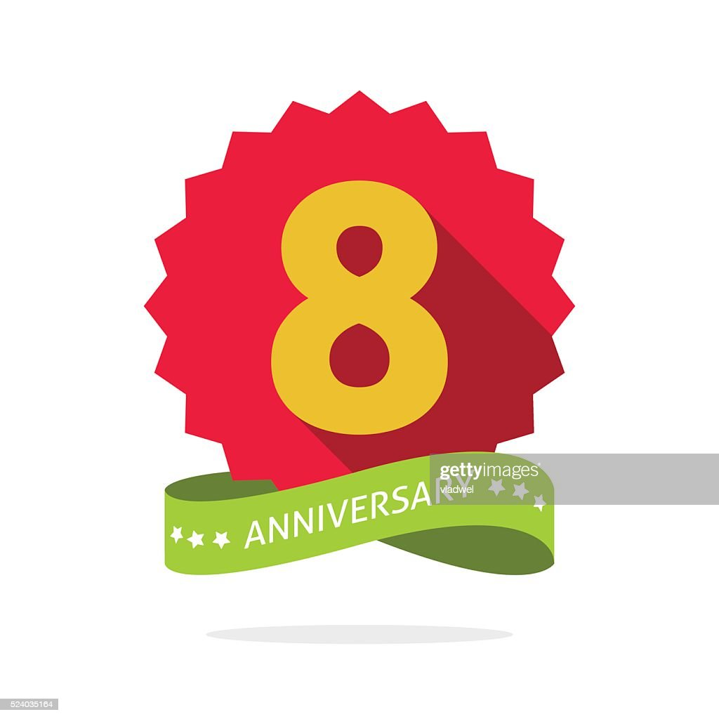 Eight anniversary badge with shadow, red starburst and yellow number