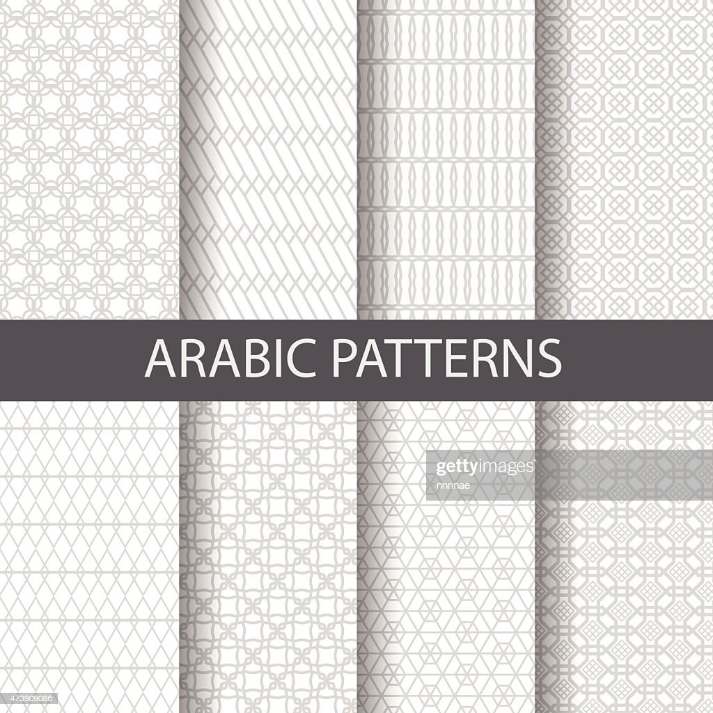 Eight Arabic patterns with white