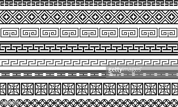 eight asian style borders - at the edge of stock illustrations