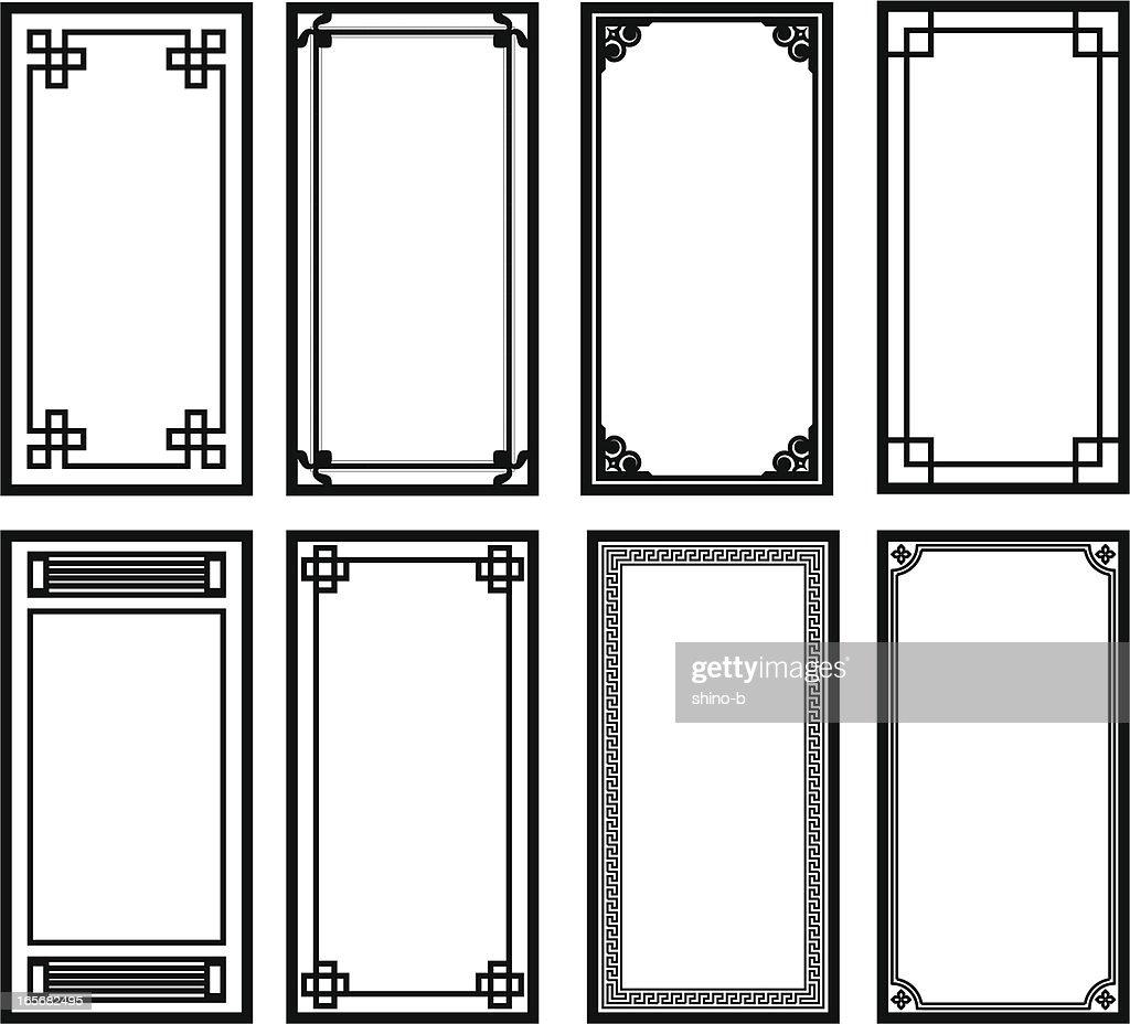 Eight Asian style frames : stock illustration