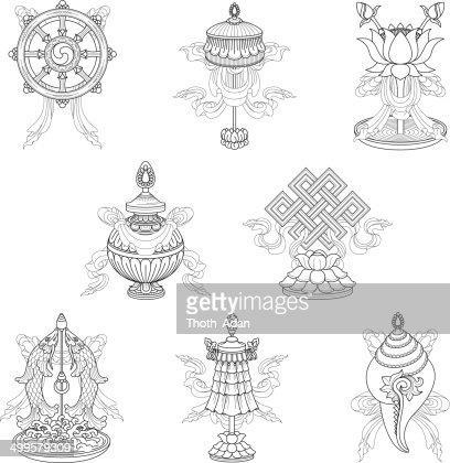 Eight Auspicious Signs Ashtamangala Vector Art Getty Images