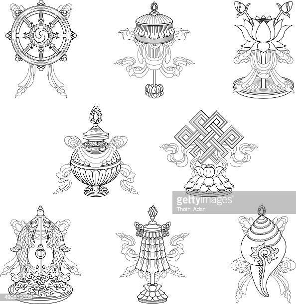 Eight auspicious signs / Ashtamangala (Line drawing) – (Buddhist symbols)