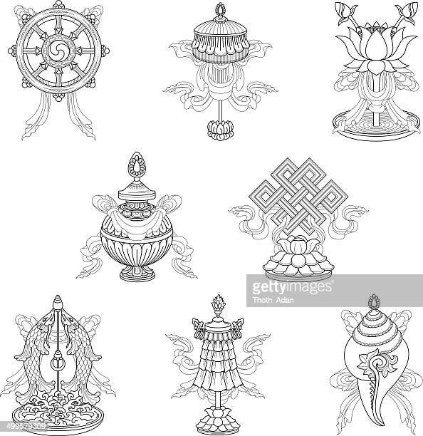 stockillustraties, clipart, cartoons en iconen met eight auspicious signs / ashtamangala (line drawing) – (buddhist symbols) - tibetaanse cultuur