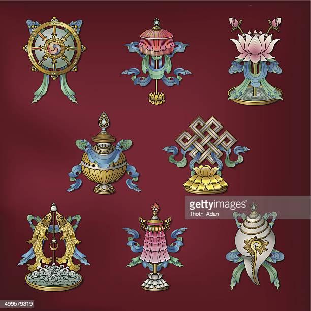Acht verheißungsvolles Zeichen/Ashtamangala – (glückverheißende buddhistische Symbole)