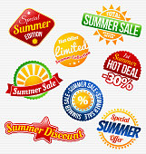 Eight badges for summer sales and discounts