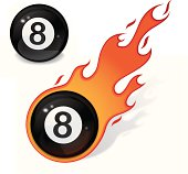 Eight ball with flame