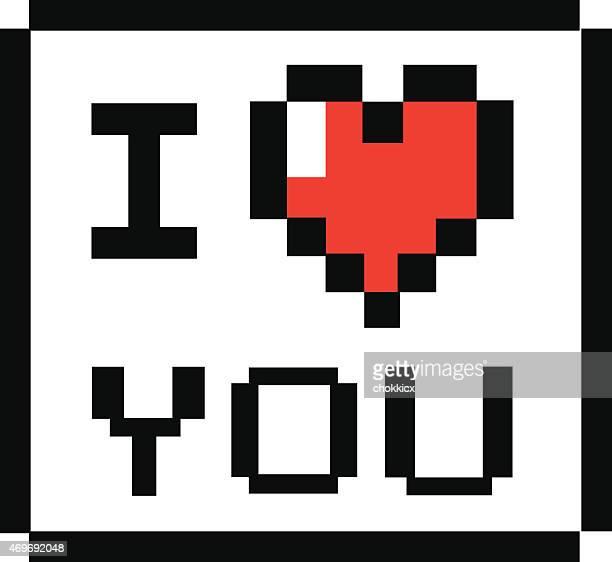illustrations, cliparts, dessins animés et icônes de 8 bits de style i love you - i love you