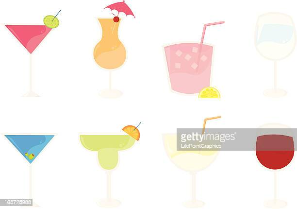 eight cocktail beverages - frozen drink stock illustrations