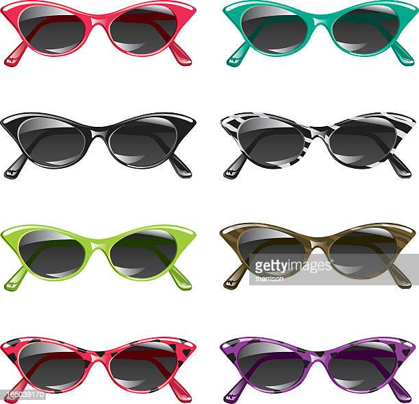 eight different pairs of vector style sunglasses  - cat's eye glasses stock illustrations