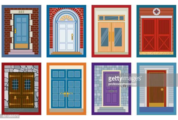 eight doors - crag stock illustrations, clip art, cartoons, & icons