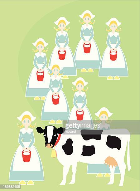 eight maids a-milking - milking stock illustrations, clip art, cartoons, & icons