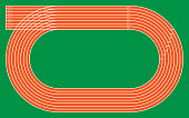 eight running tracks on green for pattern and design,vector illustration